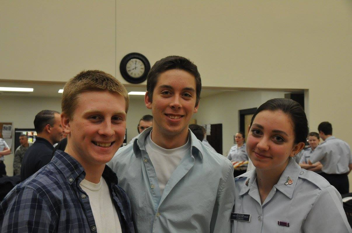 Cadet Powers (r) and friends visit Anoka