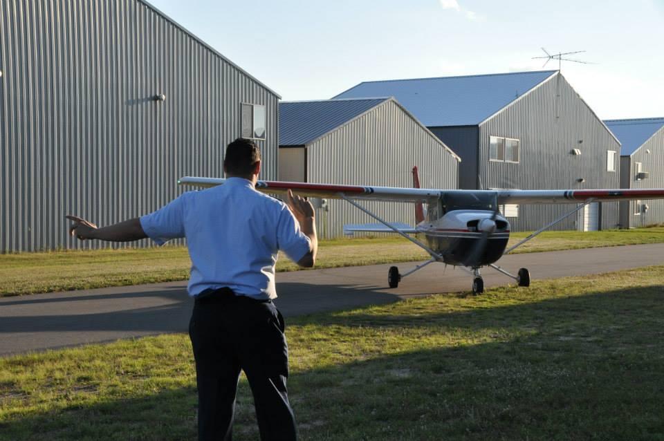 Practicing Marshalling Aircraft