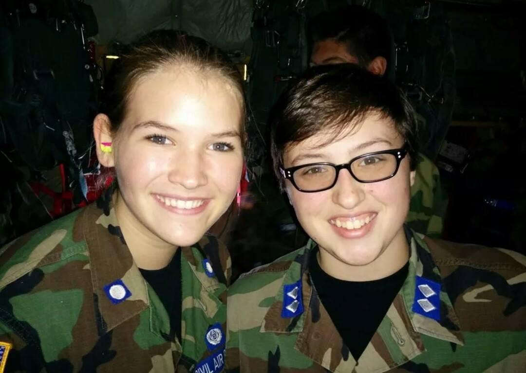Cadets Izabella Raleigh (l) and Caitlin Albright